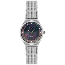 Buy Rotary LB02609/38 Women's Crystal Set Black Dial Mesh Bracelet Watch, Silver/Black Online at johnlewis.com