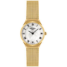 Buy Rotary LB02612/41 Women's Mother of Pearl Dial Mesh Bracelet Watch, Gold Online at johnlewis.com