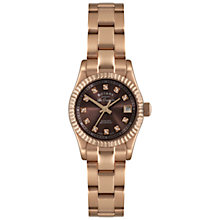 Buy Rotary LB08153/16 Women's Diamond Set Brown Dial Rose Gold Steel Bracelet Watch Online at johnlewis.com