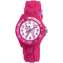 Buy Tikkers TK0044 Children's Cat Rubber Strap Watch, Pink Online at johnlewis.com