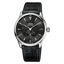 Buy Oris 0139675804054LS Culture Artelier Men's Mock Croc Leather Strap Watch, Black Online at johnlewis.com