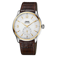 Buy Oris 0139675804351LS Culture Artelier Men's Mock Croc Leather Strap Watch, Brown Online at johnlewis.com