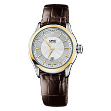 Buy Oris 0156176044351LS Culture Artelier Women's Two-Tone Dial Mock Croc Leather Strap Watch, Brown Online at johnlewis.com