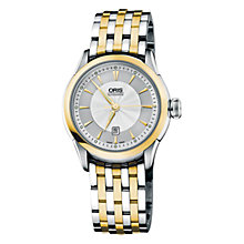 Buy Oris 0156176044351MB Artelier Date Two-Tone Bracelet Watch, Gold / Silver Online at johnlewis.com