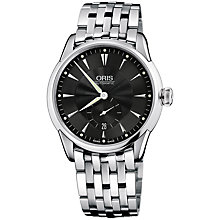Buy Oris 0162375824074MB Culture Artelier Men's Black Dial Bracelet Watch, Black/Silver Online at johnlewis.com