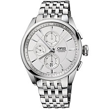 Buy Oris 0167476444051MB Artix Men's Chronograph Bracelet Watch, Silver Online at johnlewis.com