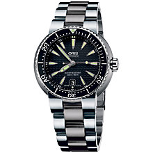 Buy Oris 0173375338454MB Men's Divers Date Black Dial Bracelet Watch, Silver / Black Online at johnlewis.com