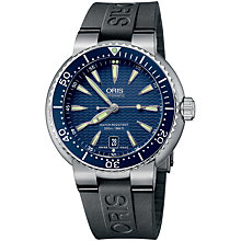 Buy Oris 0173375338555RS Drivers Men's Blue Dial Rubber Strap Watch, Blue/Black Online at johnlewis.com