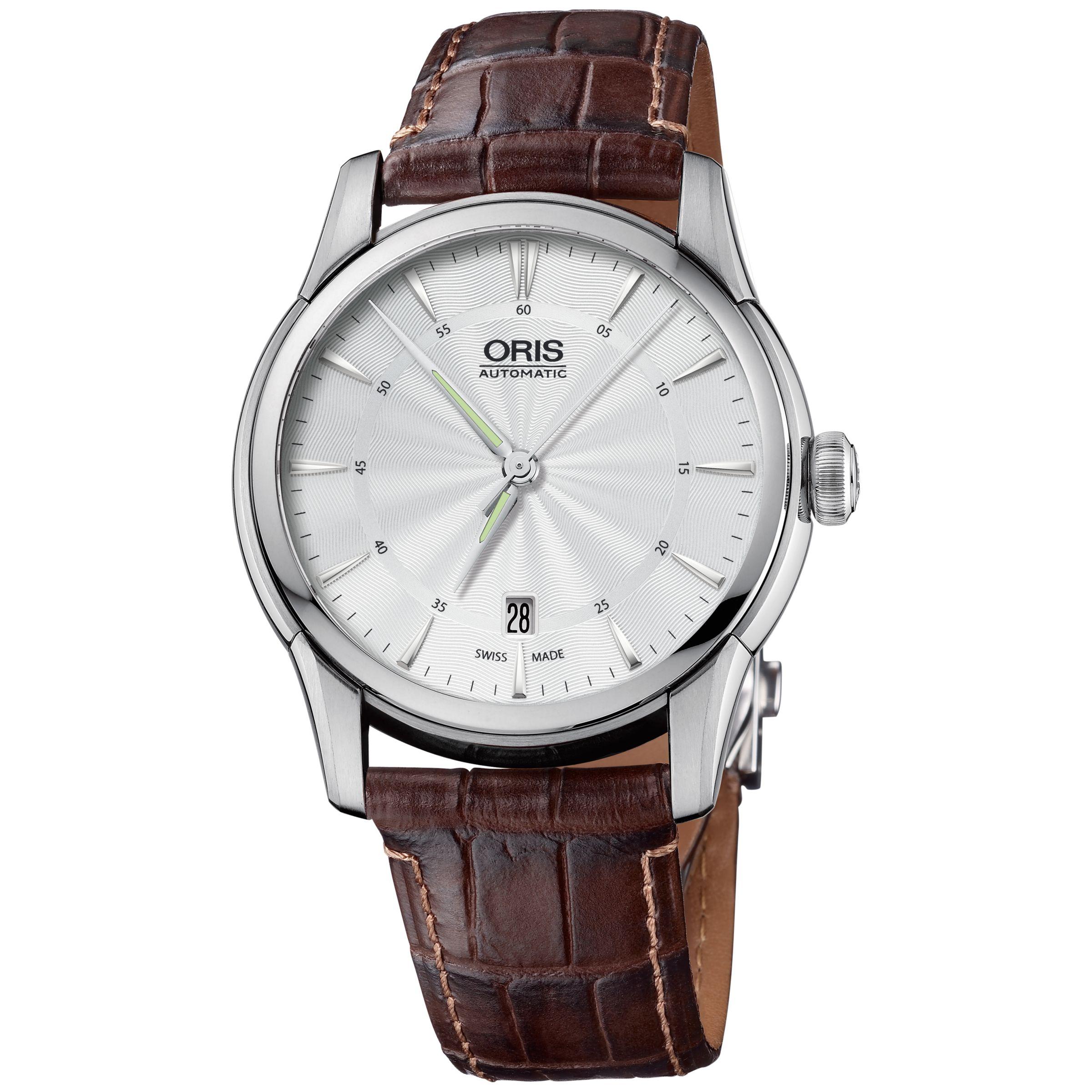 Oris Oris 0173375914091LS Artelier Men's Leather Strap Watch, Silver/Black