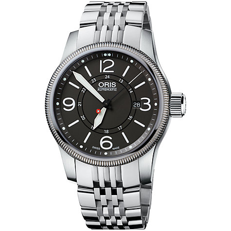 Buy Oris 0173376294063MB Big Crown Men's Aviation PS Edition Bracelet Watch, Silver/Black Online at johnlewis.com
