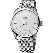 Buy Oris 0173376424051MB Artix Men's Bracelet Watch, Silver Online at johnlewis.com