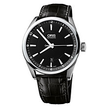 Buy Oris 0173376424054LS Artix Men's Black Dial Mock Croc Leather Strap Watch, Black Online at johnlewis.com
