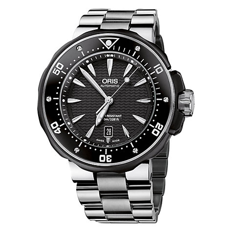 Buy Oris 0173376424054MB Artix Men's Black Dial Bracelet Watch, Silver/Black Online at johnlewis.com