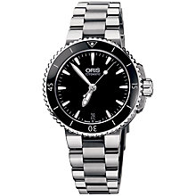 Buy Oris 0173376524154MB Women's Aquis Black Dial Bracelet Watch, Silver / Black Online at johnlewis.com