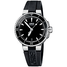 Buy Oris 0173376524154RS Women's Diver Aquis Date Rubber Strap Watch, Black Online at johnlewis.com