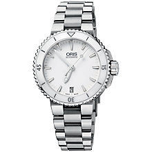 Buy Oris 0173376524156MB Diver Aquis Date Women's White Dial Bracelet Watch, Silver/White Online at johnlewis.com