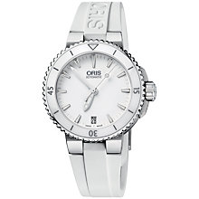 Buy Oris 0173376524156RS Diver Aquis Women's Rubber Strap Watch, White Online at johnlewis.com