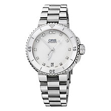 Buy Oris 0173376524191MB Diver Aquis Women's Diamonte Hour Marker Bracelet Watch, Silver/White Online at johnlewis.com