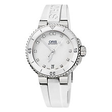 Buy Oris 0173376524191RS Diver Aquis Women's Diamond Hour Marker Rubber Strap Watch, White Online at johnlewis.com