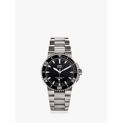 Oris 01 733 7653 4154-07 8 26 01PEB Men's Aquis Date Bracelet Strap Watch, Silver/Black