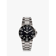 Buy Oris 0173376534154MB Men's Aquis Date Black Dial Bracelet Watch, Silver / Black Online at johnlewis.com