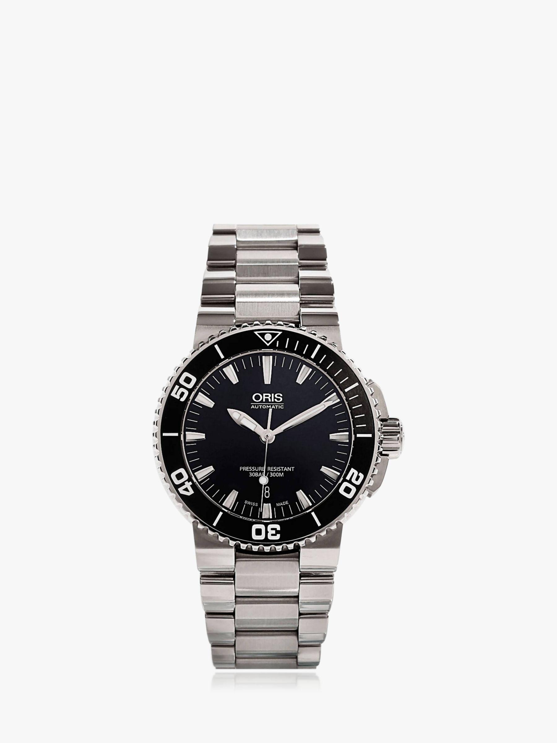Oris Oris 01 733 7653 4154-07 8 26 01PEB Men's Aquis Date Bracelet Strap Watch, Silver/Black