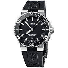 Buy Oris 0173376534154RS Diver Aquis Men's Rubber Strap Watch, Black Online at johnlewis.com