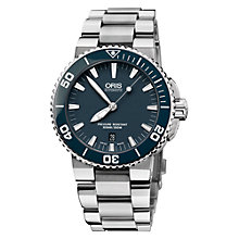 Buy Oris 0173376534155MB Diver Aquis Men's Bracelet Watch, Silver/Blue Online at johnlewis.com