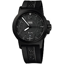 Buy Oris 0173576414764RS Men's BC3 Black Rubber Strap Watch, Black Online at johnlewis.com