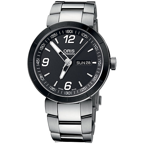 Buy Oris 0173576514174MB TT1 Men's Black Dial Bracelet Watch, Black/Silver Online at johnlewis.com