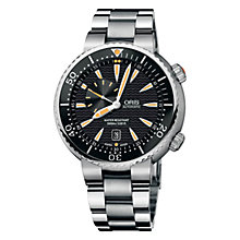 Buy Oris 0174376098454MB Divers Small Second Date Men's Bracelet Watch, Black/Silver Online at johnlewis.com