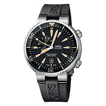 Buy Oris 0174376098454RS Divers Small Second Date Men's Rubber Strap Watch, Black Online at johnlewis.com