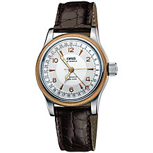 Buy Oris 0175475434361LS Men's Big Crown Leather Strap Watch, Brown/White Online at johnlewis.com