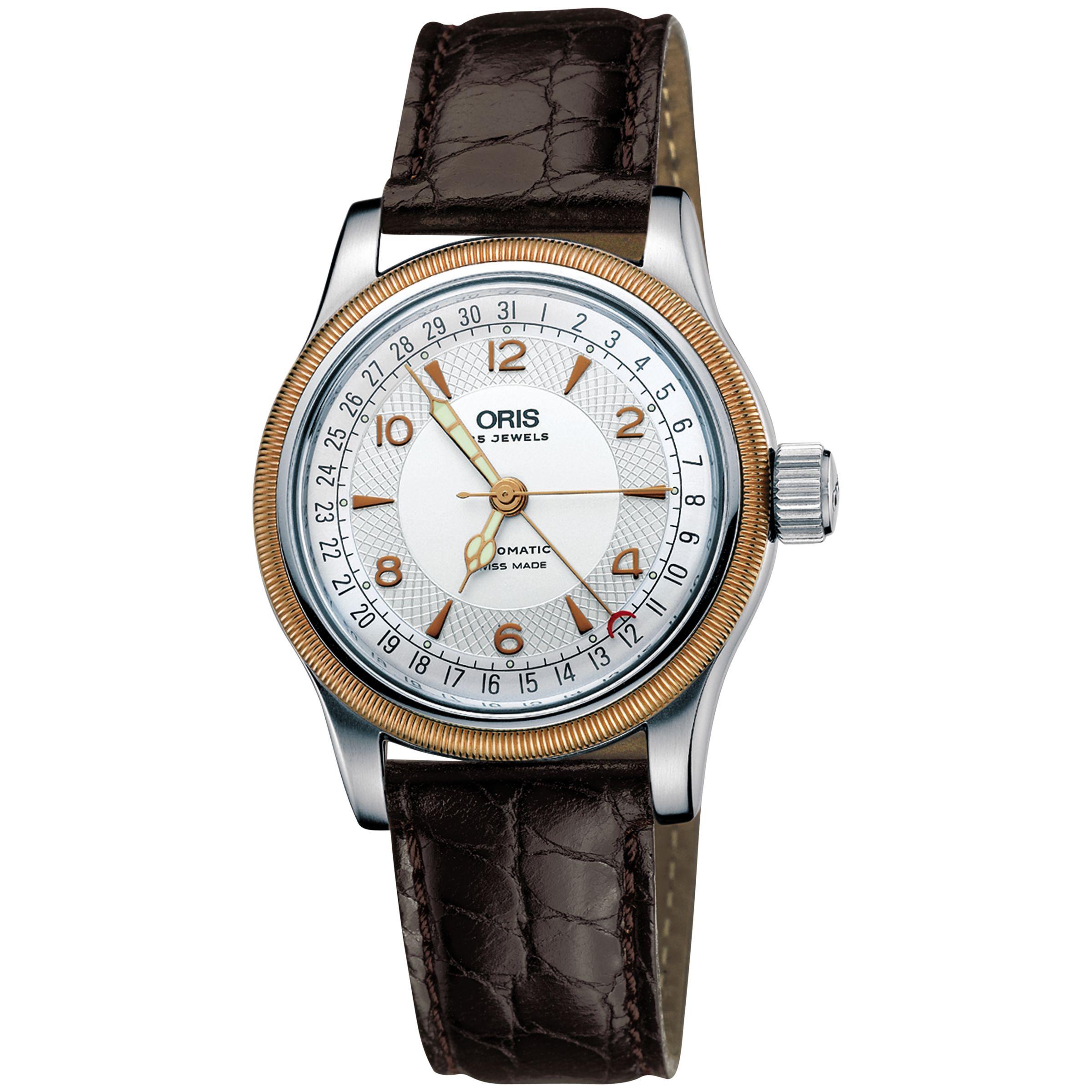 Oris Oris 0175475434361LS Men's Big Crown Leather Strap Watch, Brown/White