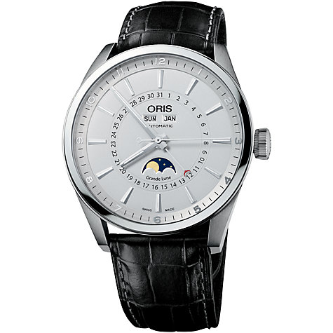 Buy Oris 0191576434051LS Artix Complication Men's Mock Croc Leather Strap Watch, Black Online at johnlewis.com