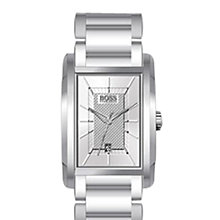 Buy Hugo Boss Men's Rectangular Dial Date Display Bracelet Watch Online at johnlewis.com