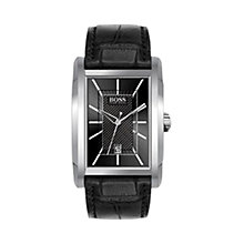 Buy Hugo Boss 1512619 Men's Black Rectangular Date Display Dial Leather Strap Watch, Black Online at johnlewis.com