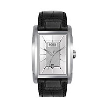 Buy Hugo Boss 1512620 Men's Rectangular Silver Date Display Dial Leather Strap Watch, Black / Silver Online at johnlewis.com