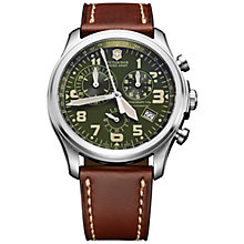 Buy Victorinox 241287 Men's Infantry Vintage Chronograph Leather Strap Watch, Brown Online at johnlewis.com