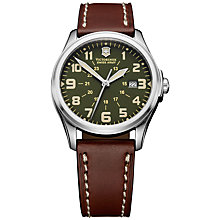 Buy Victorinox 241309 Men's Infantry Vintage Leather Strap Watch, Green/Brown Online at johnlewis.com