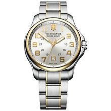 Buy Victorinox 241362 Men's Officers Two-Tone Bracelet Watch, Silver/Gold Online at johnlewis.com