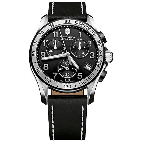 Buy Victorinox 241404 Men's Chrono Classic Chronograph Leather Strap Watch, Black Online at johnlewis.com