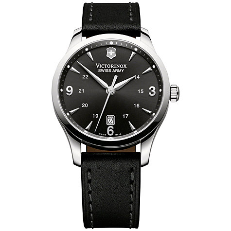 Buy Victorinox 241474 Men's Alliance Black Dial Leather Strap Watch, Black Online at johnlewis.com