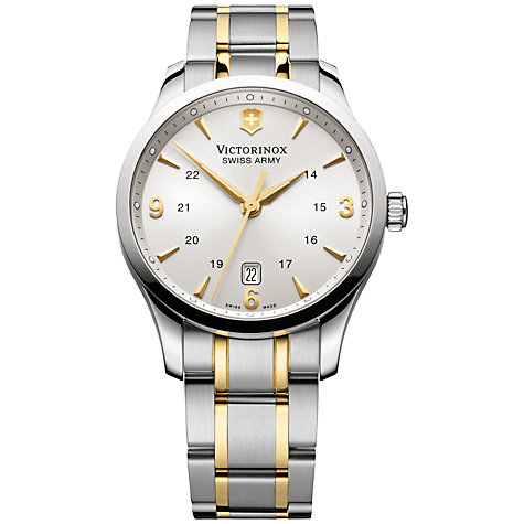 Buy Victorinox 241477 Men's Alliance Two Tone Bracelet Strap Watch, Silver/Gold Online at johnlewis.com