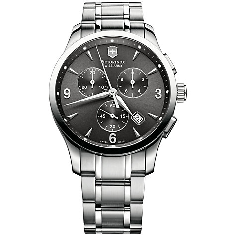 Buy Victorinox 241478 Men's Alliance Chronograph Bracelet Strap Watch, Silver/Black Online at johnlewis.com