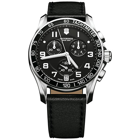 Buy Victorinox 241493 Men's Infantry Chronograph Leather Strap Watch, Black Online at johnlewis.com