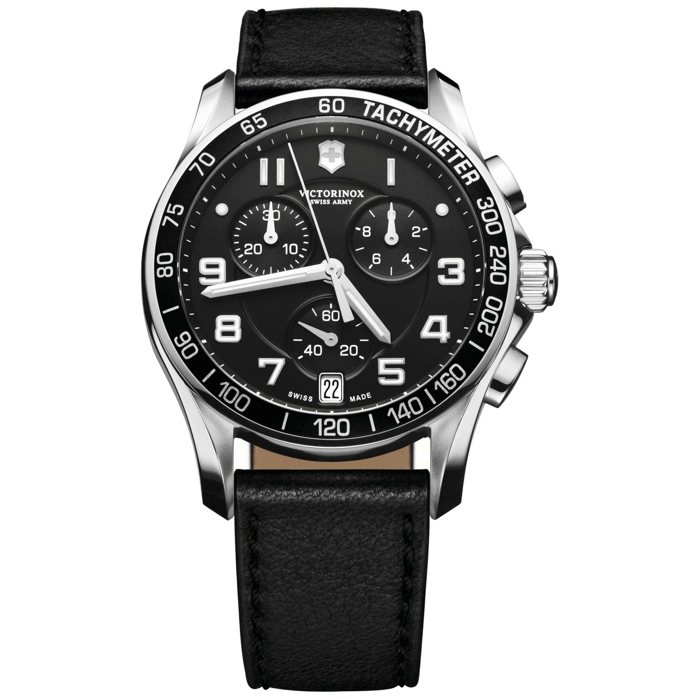 Victorinox Victorinox 241493 Men's Infantry Chronograph Leather Strap Watch, Black