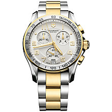 Buy Victorinox 241509 Men's Chrono Classic Chronograph Two-Tone Bracelet Watch, Silver/Gold Online at johnlewis.com