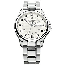 Buy Victorinox 241551 Men's Officers Bracelet Watch, Silver Online at johnlewis.com