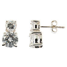 Buy Nina Breddal Double Cubic Zirconia Stud Earrings, Clear Online at johnlewis.com